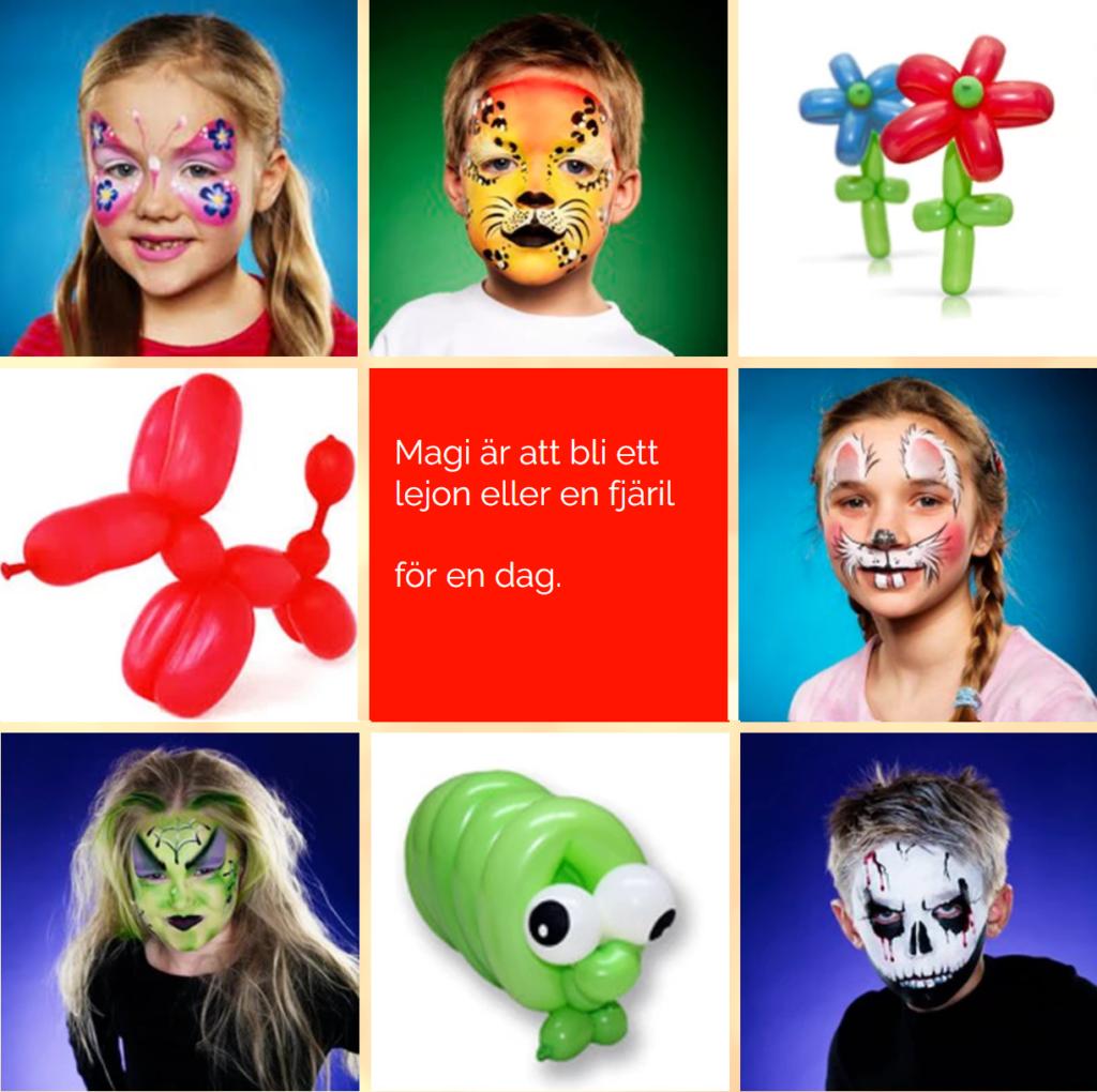Kalas fixare ansiktsmålning ballonger maskot barnkalas stockholm